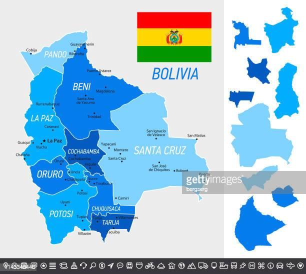 ilustraciones, imágenes clip art, dibujos animados e iconos de stock de mapa de bolivia con bandera nacional, provincias separadas e íconos de navegación - santa cruz de la sierra bolivia
