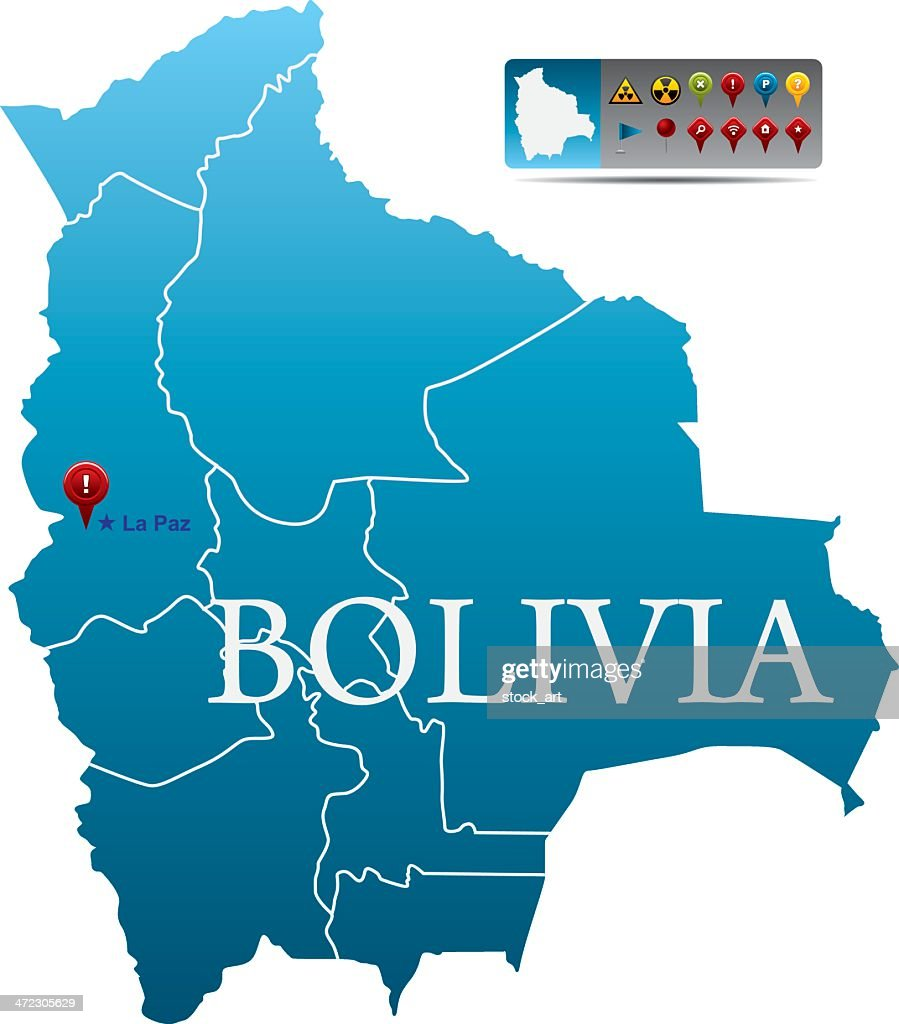 Bolivia Map With Navigation Icons Vector Art Getty Images - Bolivia map