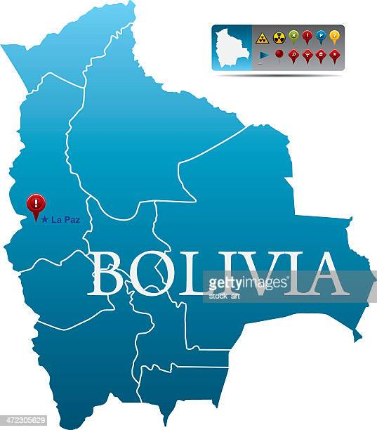Bolivia map with navigation icons
