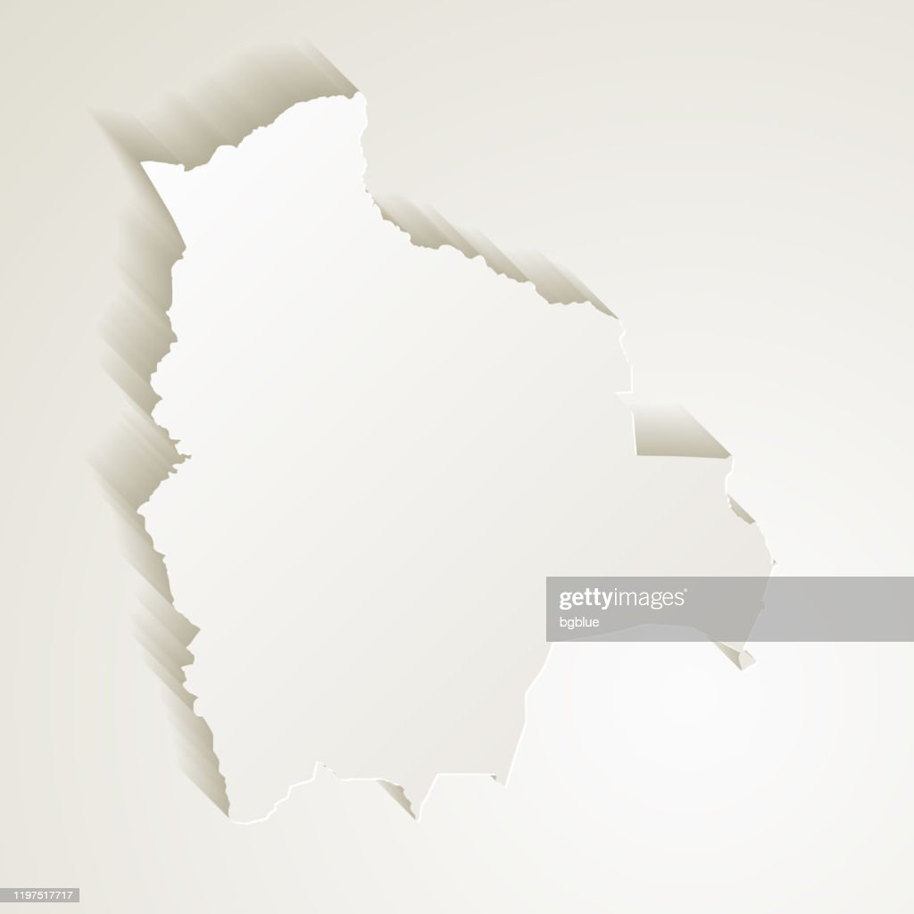 Picture of: Bolivia Map With Paper Cut Effect On Blank Background High Res Vector Graphic Getty Images