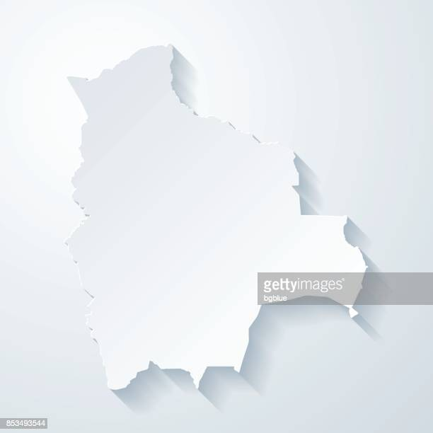 Bolivia map with paper cut effect on blank background
