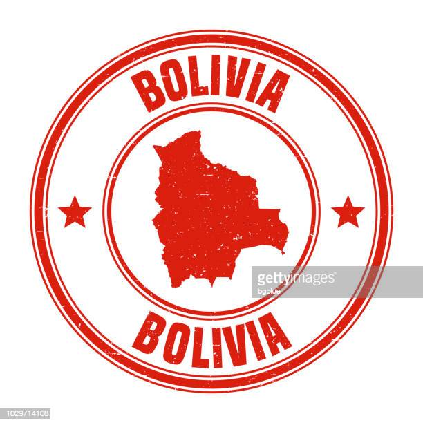 Bolivia - Red grunge rubber stamp with name and map