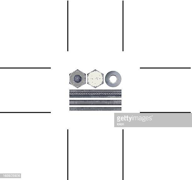 bolts, nuts, rods and washer - rod stock illustrations, clip art, cartoons, & icons