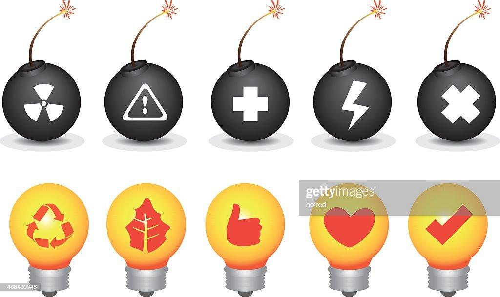Bomb and Light Bulb Symbols Vector Icon Set