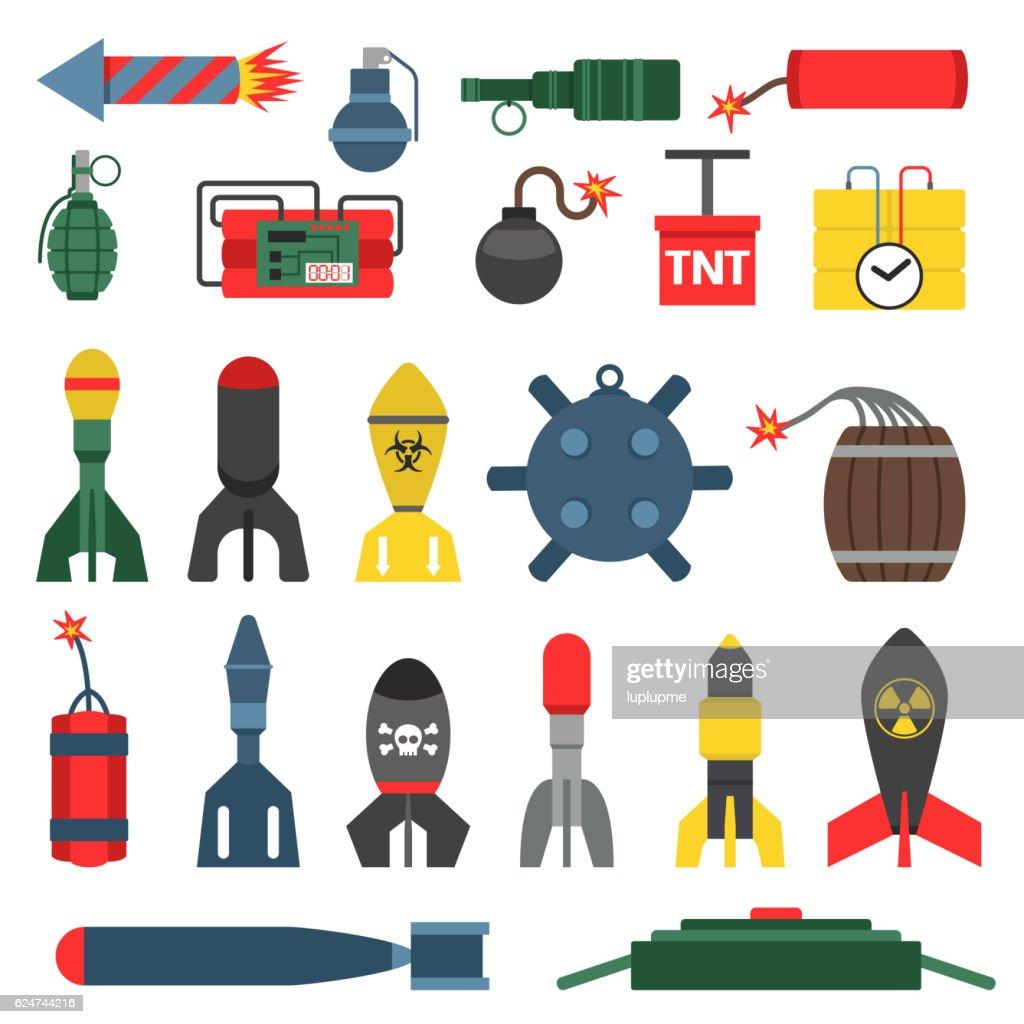 Bomb and rockets vector set.