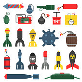 Bomb and rockets vector set.