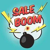 Bomb explosion flyer pop art comic mega sale discount promotion