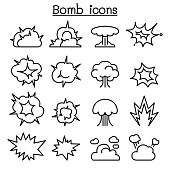 Bomb & Explosion icon set in thin line style