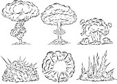 Bomb explosion mushroom cloud by hand drawing