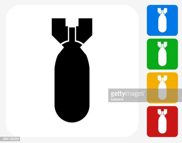 bildbanksillustrationer, clip art samt tecknat material och ikoner med bomb icon flat graphic design - bomba nuclear