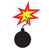 Bomb icon flat style isolated on white