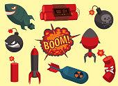 Bomb vector dynamite fuse illustration grenade attack power ball burning detonation explosion fire military destruction design aggression