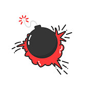 bomb with cartoon explosion icon