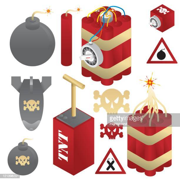 bombs and dynamite - dynamite stock illustrations