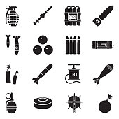 Bombs And Explosives Icons. Black Flat Design. Vector Illustration.