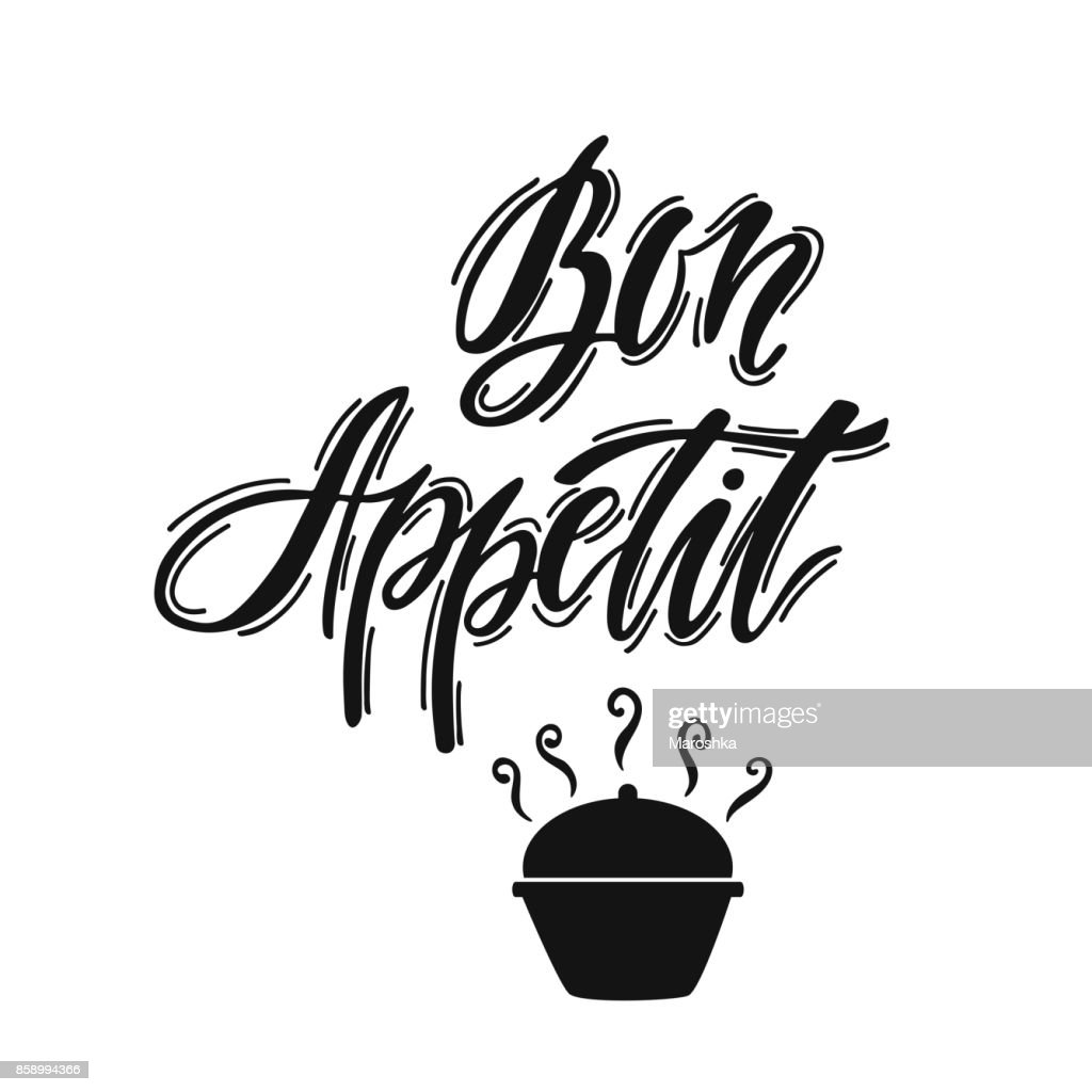 Bon Appetit. Hand drawn typography printable art. Handwritten lettering print with french phrase.