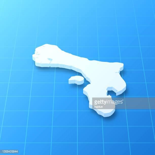 青い背景にボネール3dマップ - カリブ海オランダ領点のイラスト素材/クリップアート素材/マンガ素材/アイコン素材