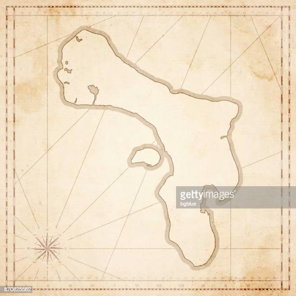 レトロなビンテージ スタイルの古いテクスチャ紙のボネール島マップ