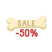 Bone with sale text -50 percent vector flat illustration. Bone isolated on white background vector icon.