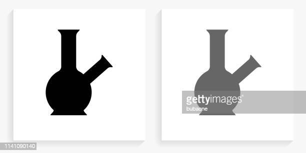 bong black and white square icon - bong stock illustrations, clip art, cartoons, & icons