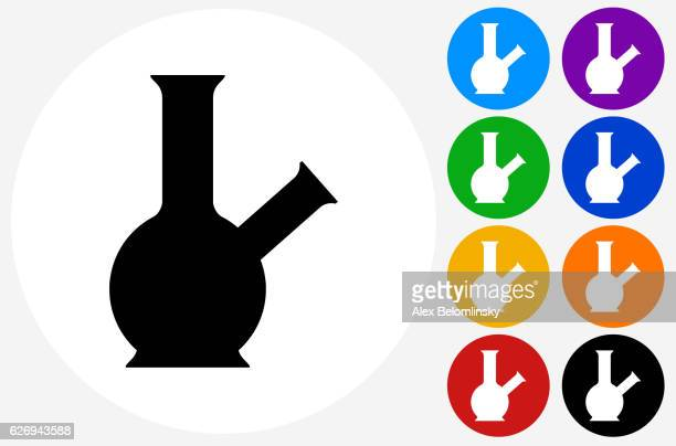 bong icon on flat color circle buttons - bong stock illustrations, clip art, cartoons, & icons