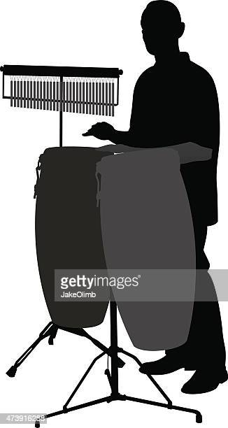 bongo player silhouette - drum percussion instrument stock illustrations, clip art, cartoons, & icons