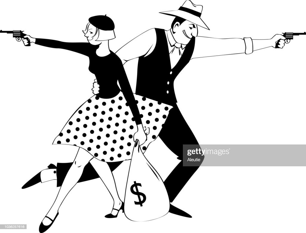 Bonnie and Clyde clip-art