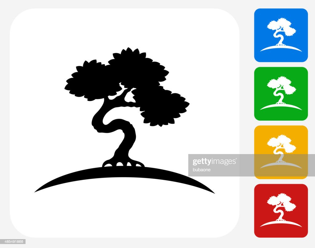 Bonsai Tree Icon Flat Graphic Design