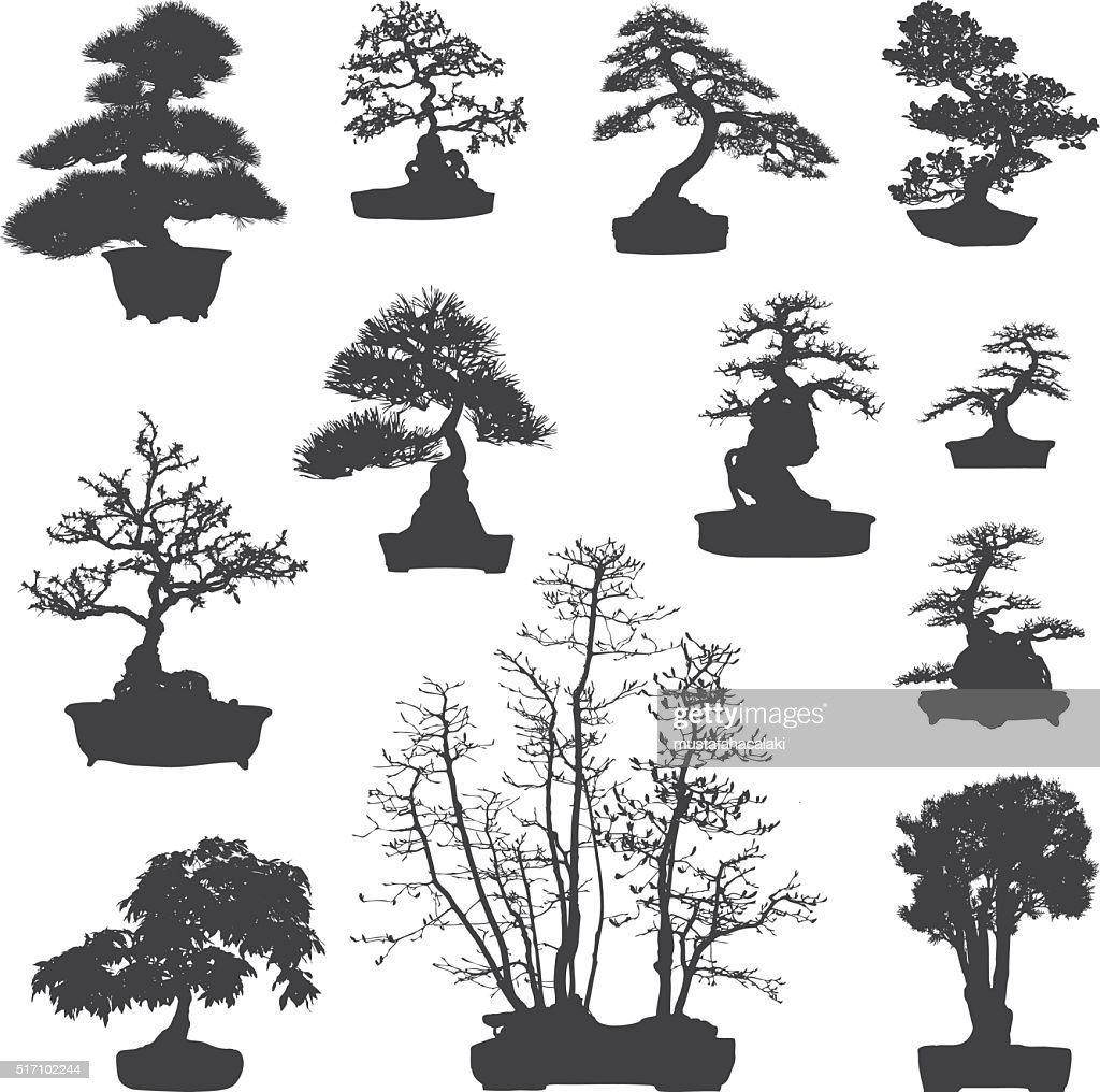Bonsai tree silhouettes set