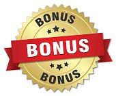 bonus 3d gold badge with red ribbon