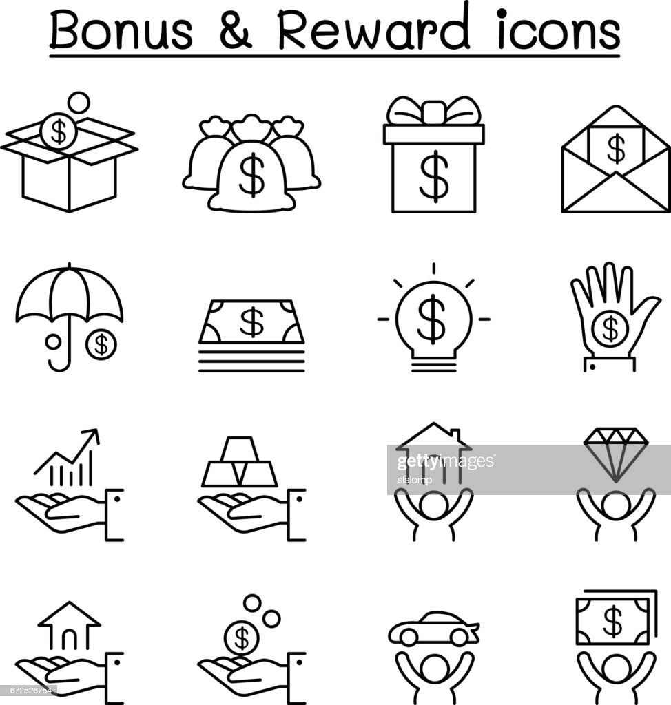 Bonus & Reward icon set in thin line style