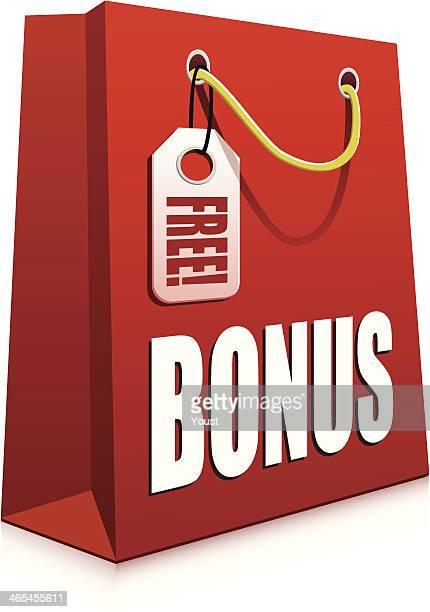 bonus shopping bag - goodie bag stock illustrations, clip art, cartoons, & icons