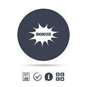 Bonus sign icon. Explosion cartoon bubble symbol.