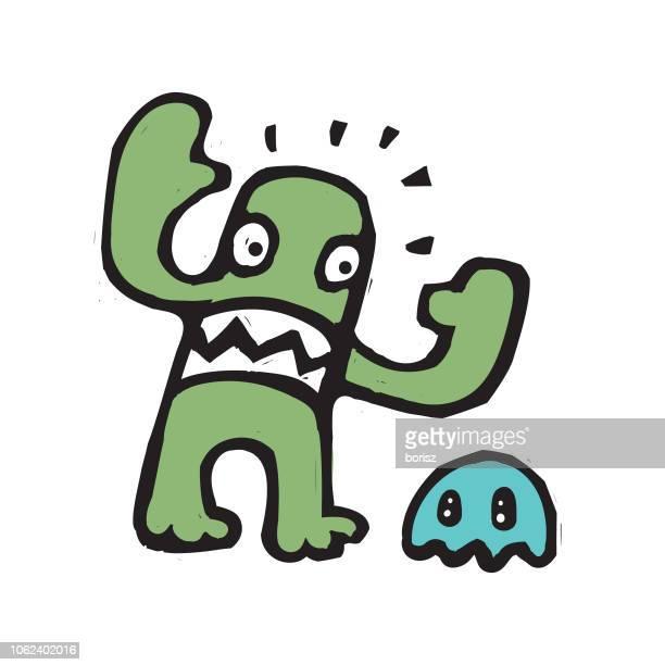 ilustraciones, imágenes clip art, dibujos animados e iconos de stock de monstruo de booger - bullying