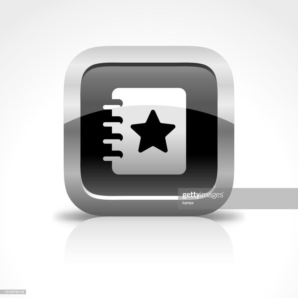 Libro y marcador brillante botón icono : Ilustración de stock