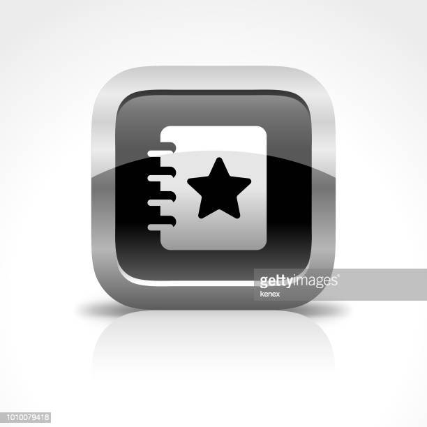 Book and Bookmark Glossy Button Icon