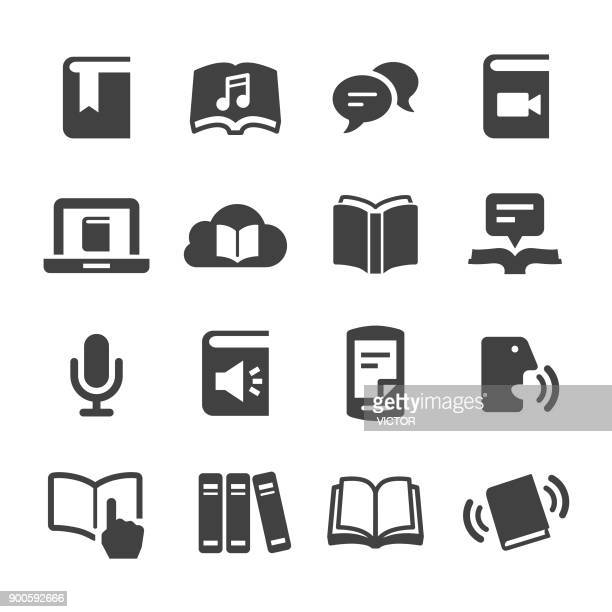 book and ebook icons - acme series - library stock illustrations