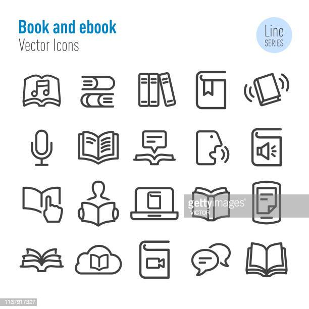 Book and ebook Icons - Vector Line Series