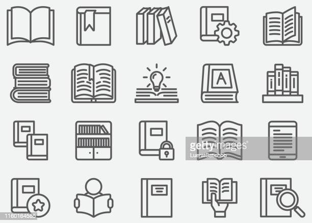 stockillustraties, clipart, cartoons en iconen met boek en leesregel iconen - boek