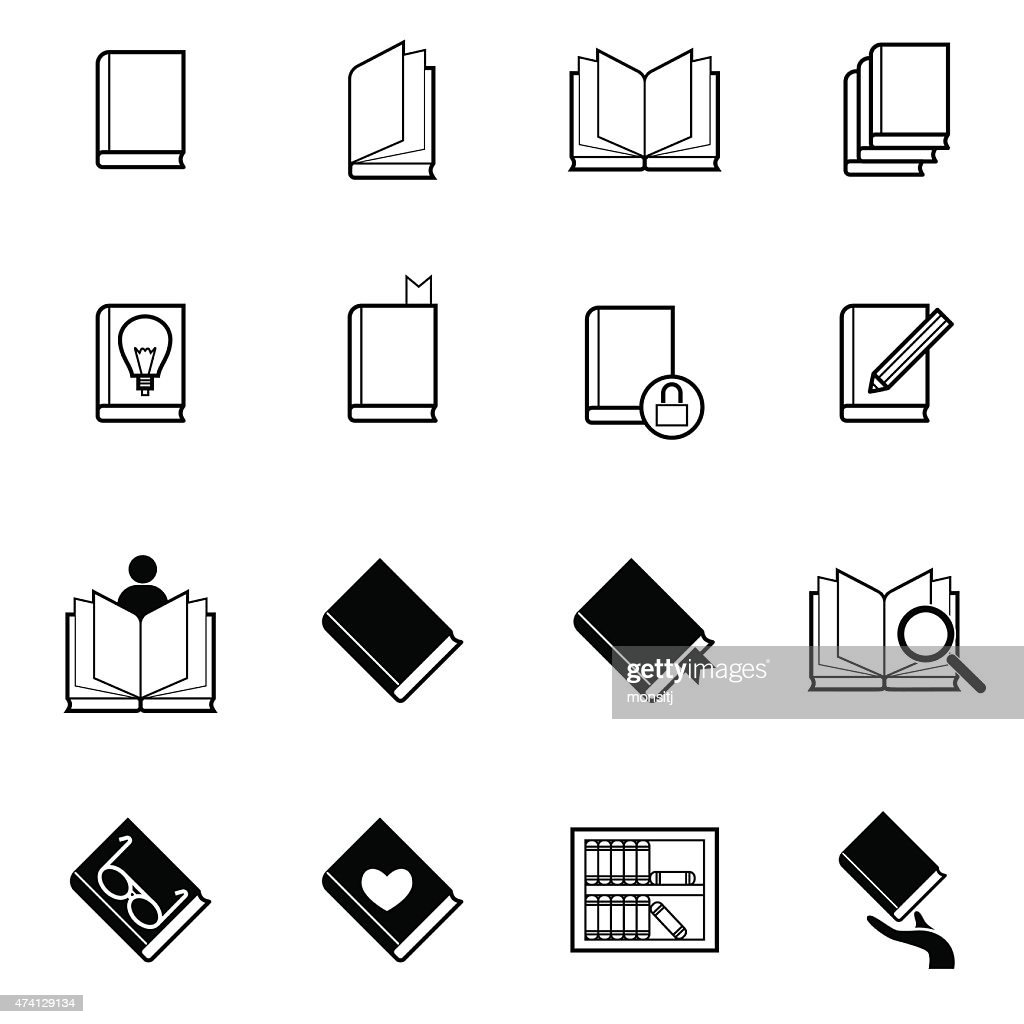 book and reading icons set vector illustration