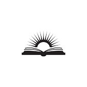 book and sun illustration. Element of library icon for mobile concept and web apps. Detailed book and sun icon can be used for web and mobile