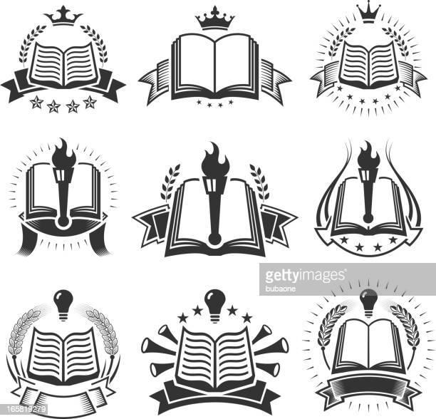 ilustrações, clipart, desenhos animados e ícones de reserve medalhas preto e branco royalty free vector conjunto de ícones - tocha de fogo