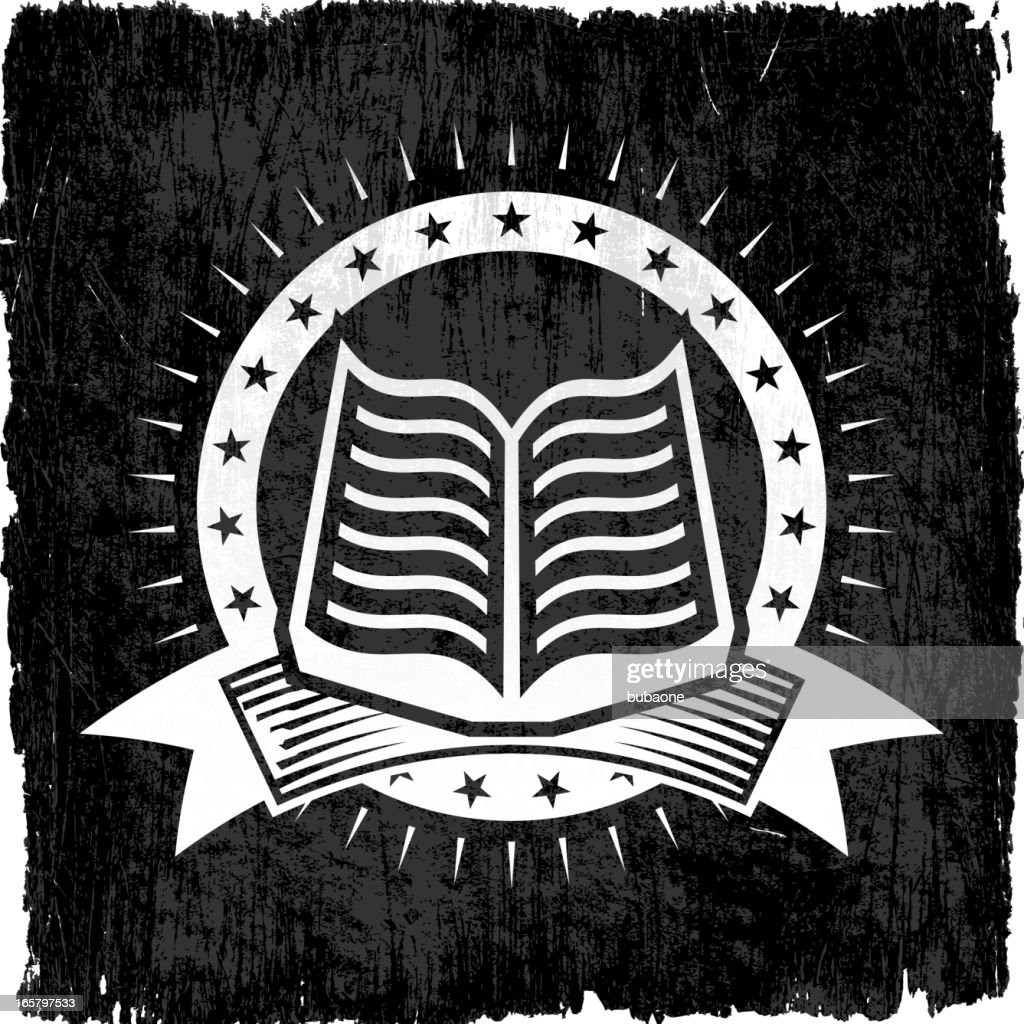 Book Badges on Black and White Grunge Texture