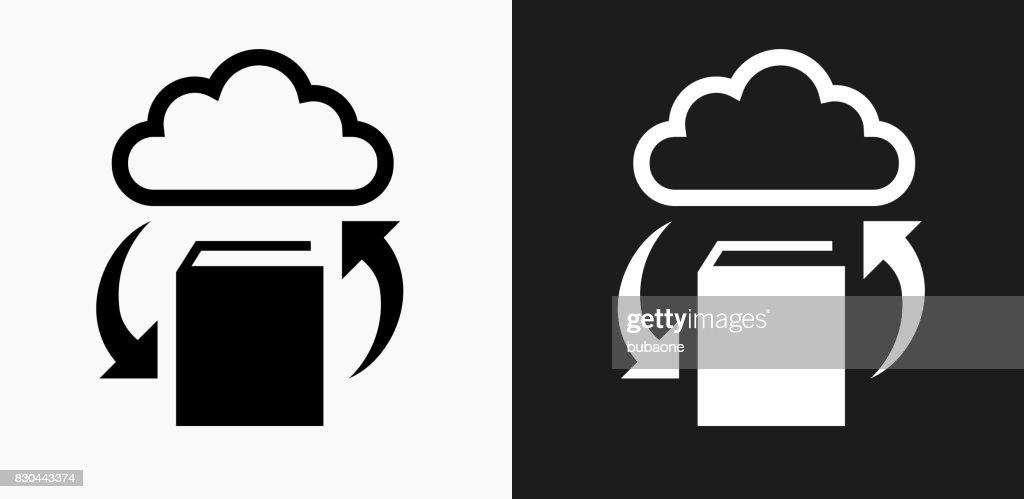 Livre Cloud Computing Icone Sur Fond De Vector Noir Et Blanc