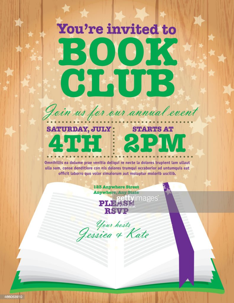 book club event invitation design template on wooden