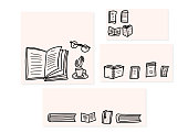 Book concept. Vector illustration in doodle style.