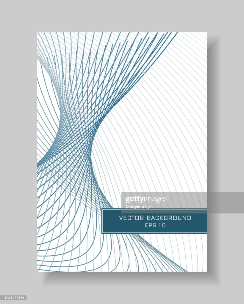 Book cover industrial layout. Subtle turquoise, gray curves on a white background. Sci-tech line art pattern. Abstract vector template A4 with text box for brochure, portfolio, leaflet, annual report, poster, flyer. EPS10 illustration