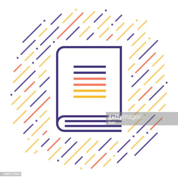Book Cover Line Icon Illustration