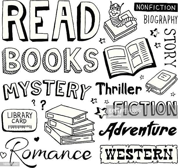 book doodles - library stock illustrations