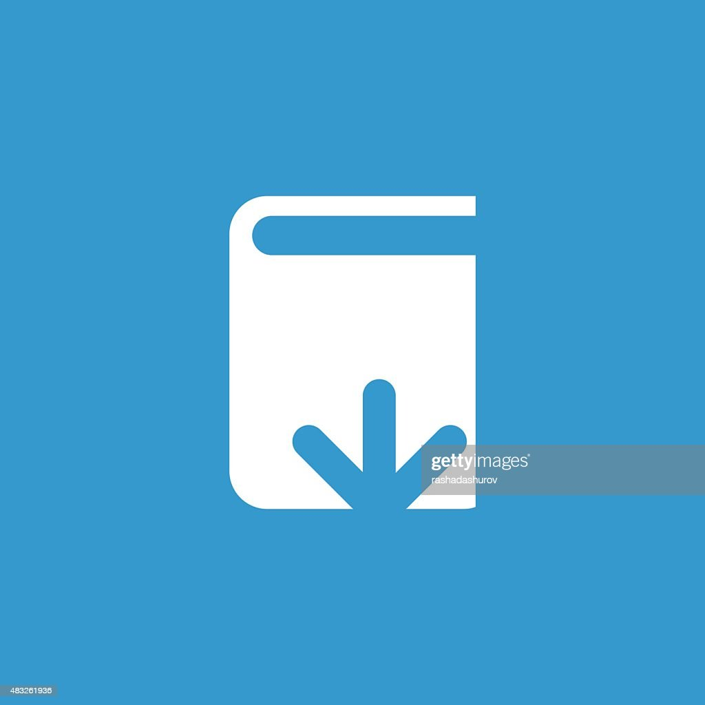 book download icon, isolated, white on the blue background